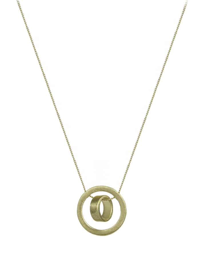 Gold Brushed Disk Necklace