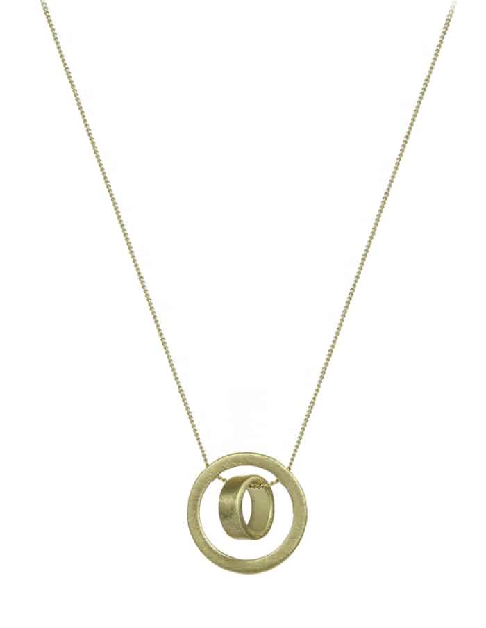 Gold Brushed Disk Necklace