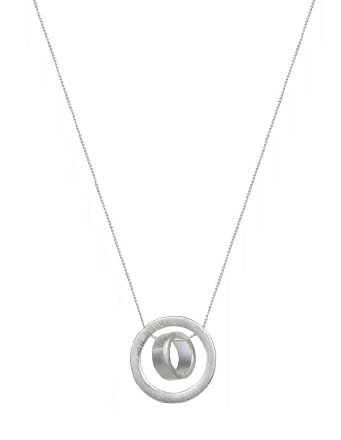 Silver Brushed Disk Necklace