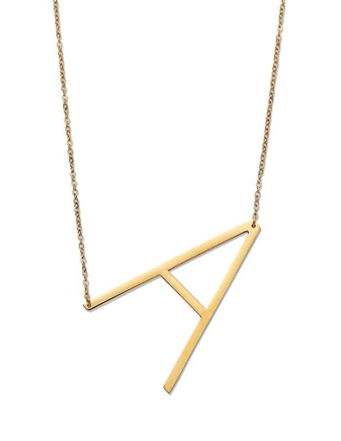 Initial Pendant Necklace, Gold, A