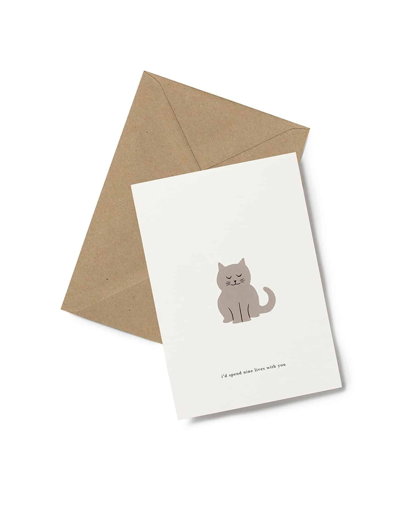 Kartotek 'i'd spend nine lives with you' Greeting Card
