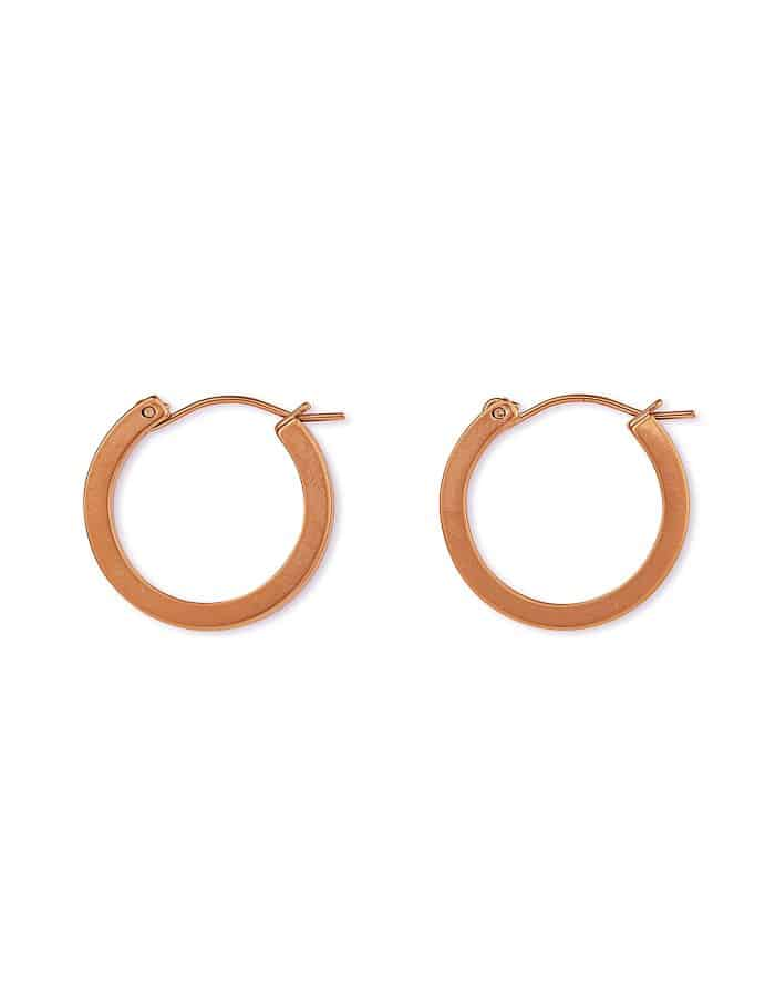 Matte Rose Gold Hoop Earrings, Small