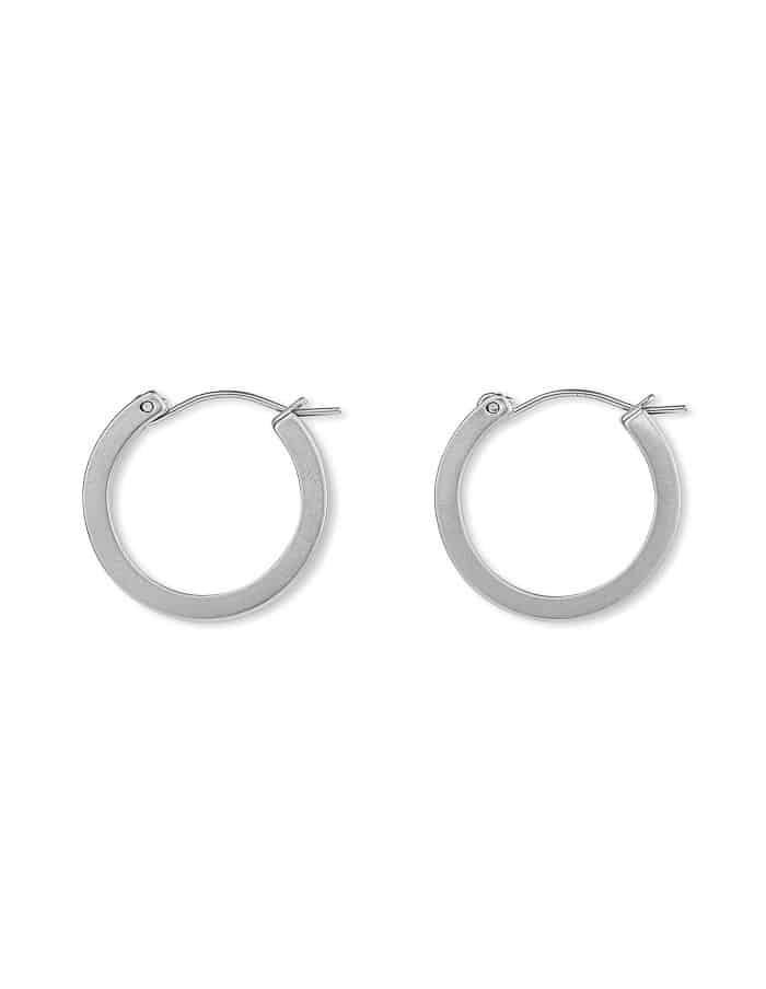 Matte Silver Hoop Earrings, Small
