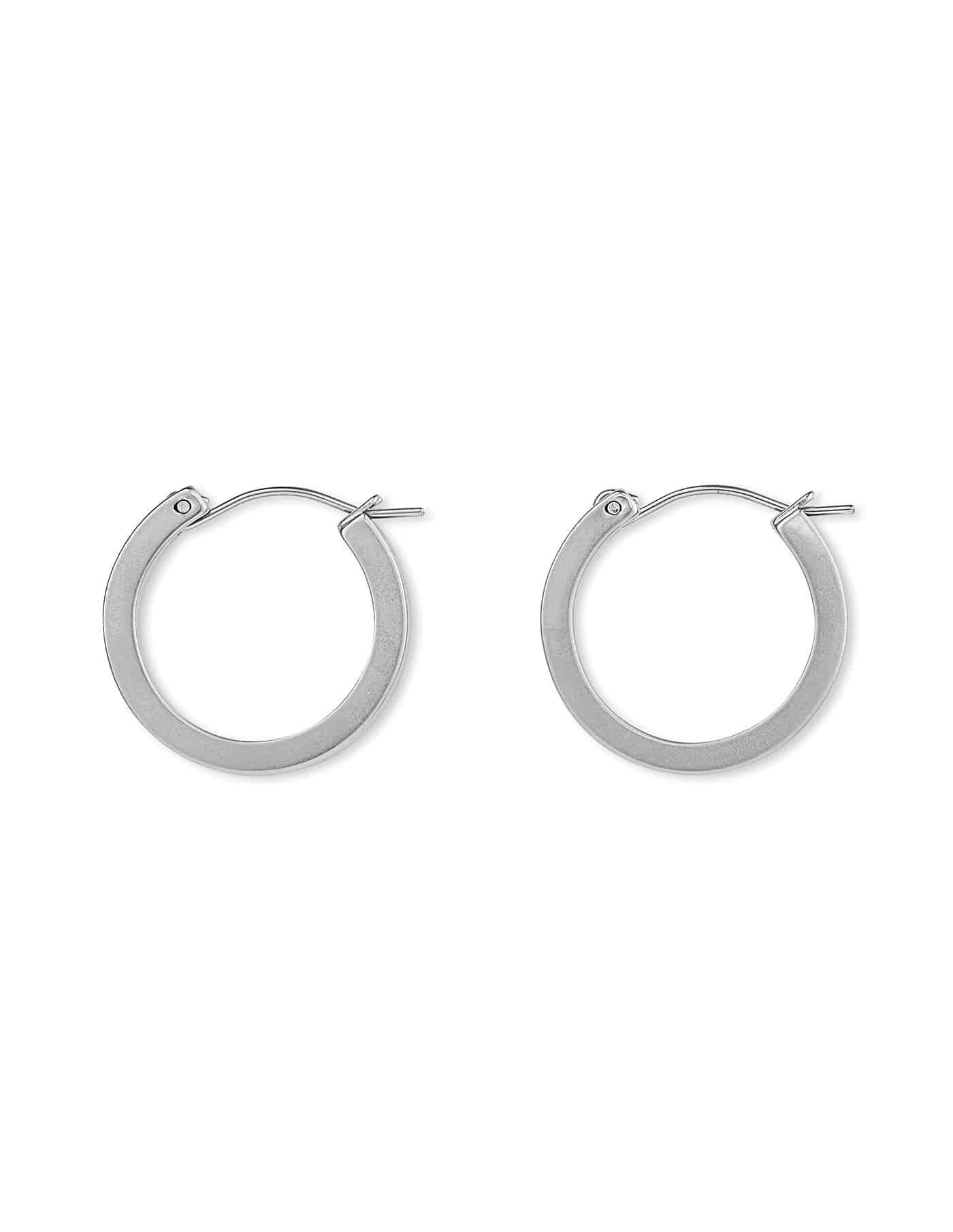 Matte Silver Hoop Earrings, Small