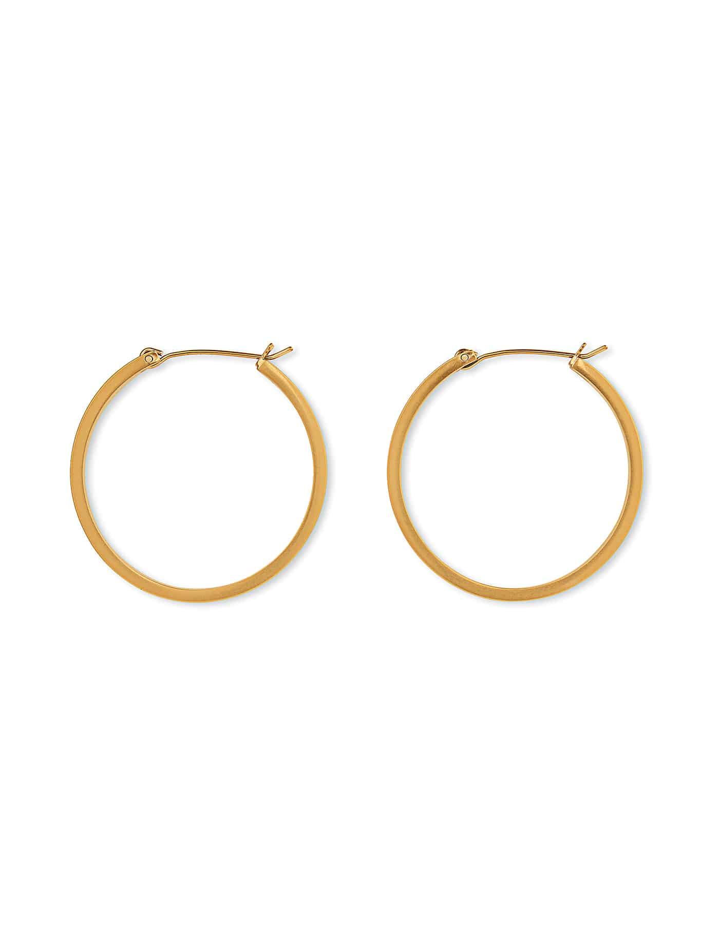 Matte Gold Hoop Earrings, Medium