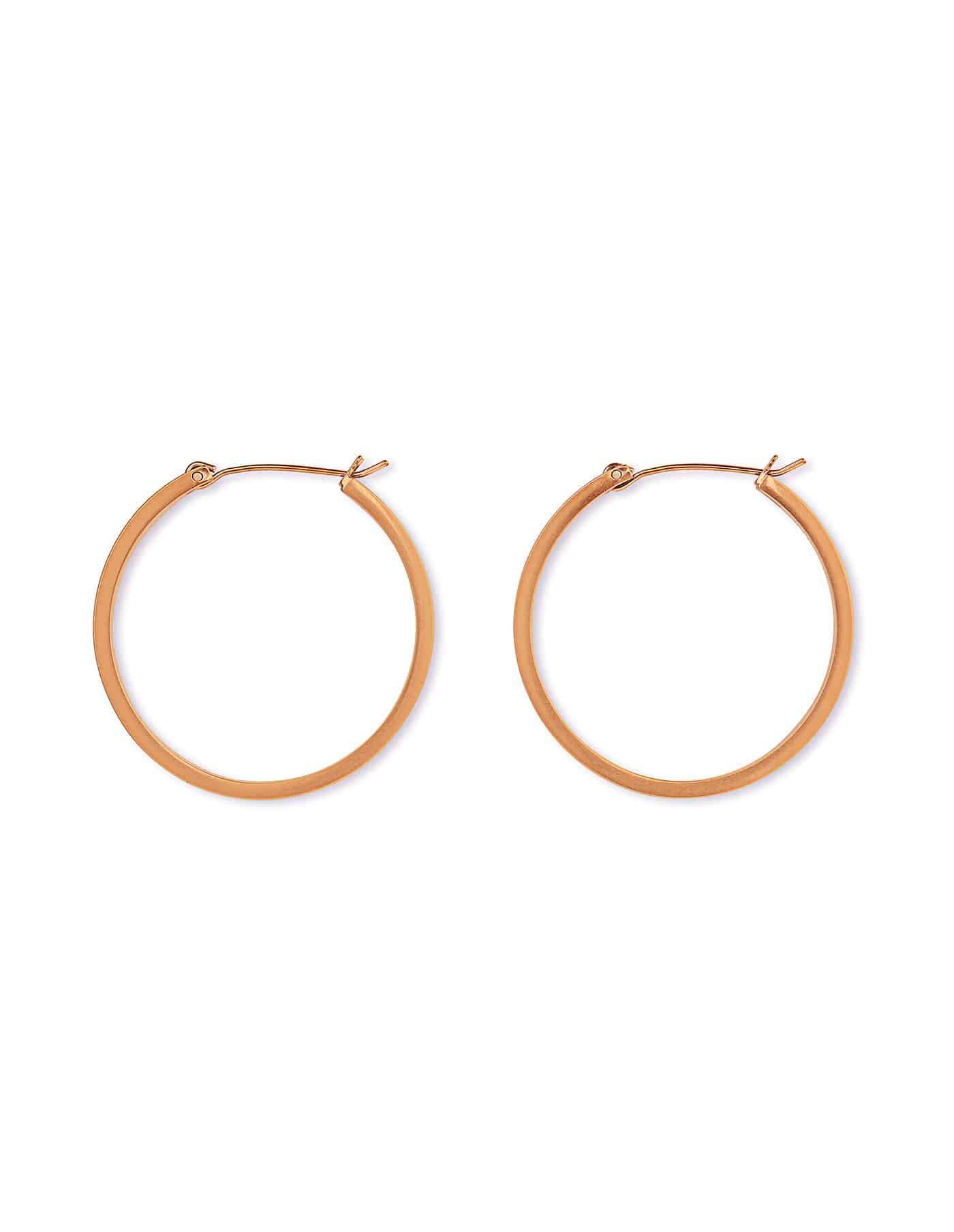 Matte Rose Gold Hoop Earrings, Medium