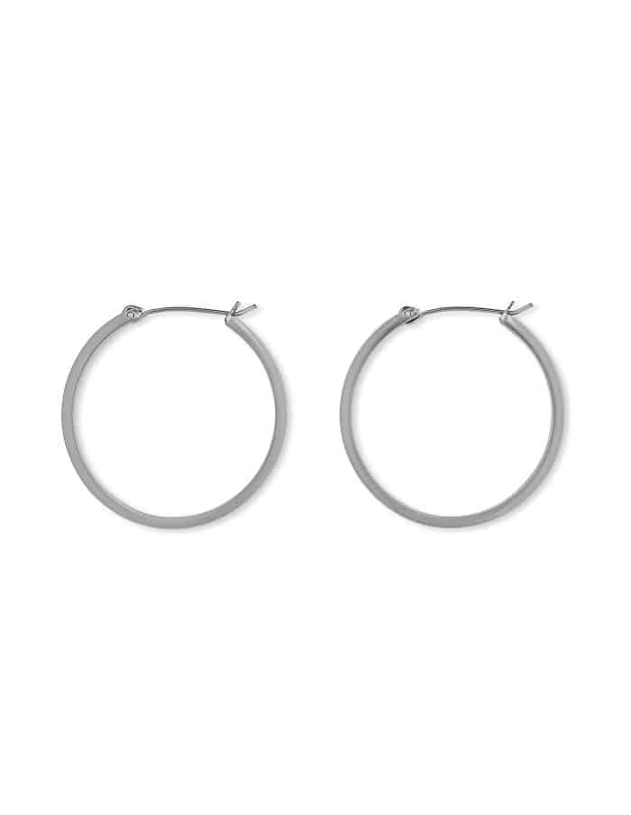 Matte Silver Hoop Earrings, Medium