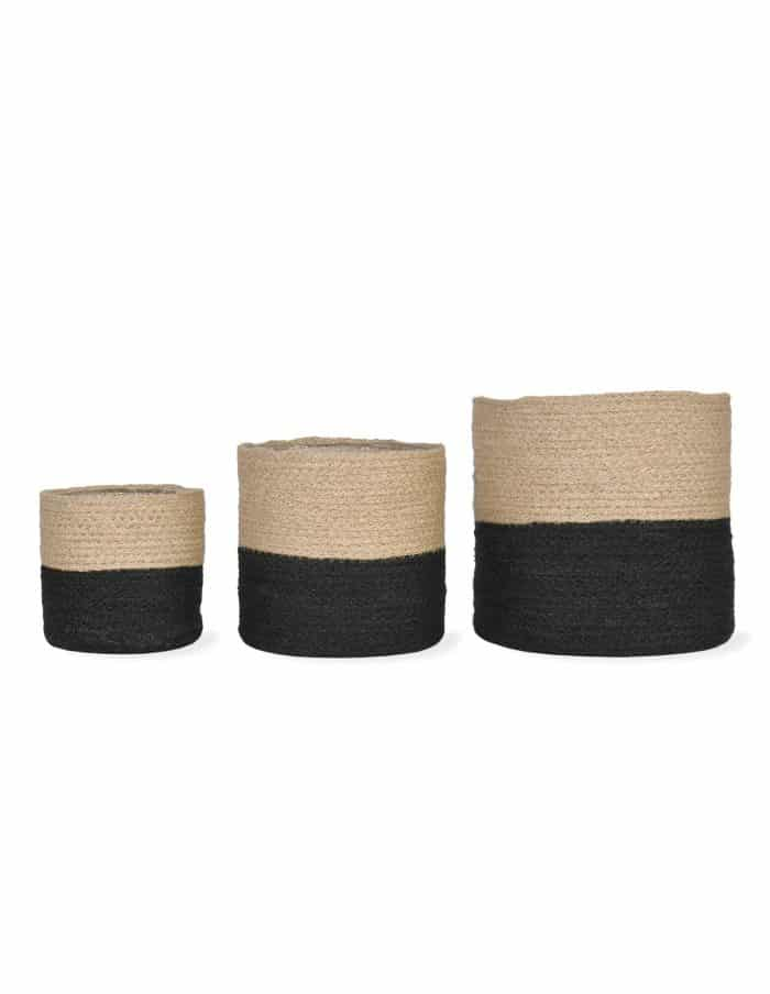 Black Waterproof Jute Pots, Three Sizes