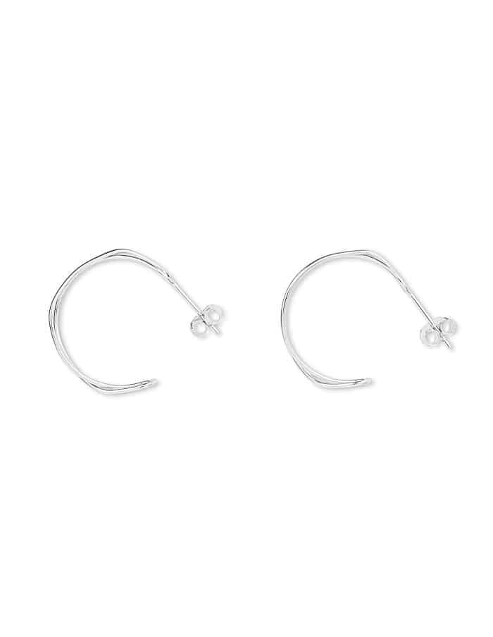 Silver Double Twist Hoop Earrings