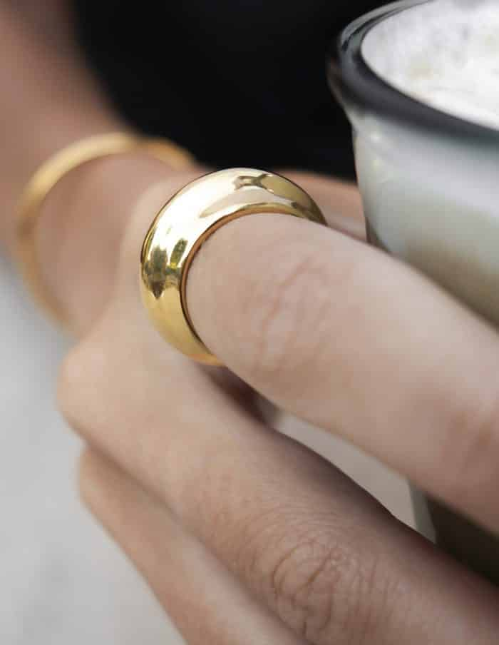 Dome Ring, Gold Plated Stainless Steel
