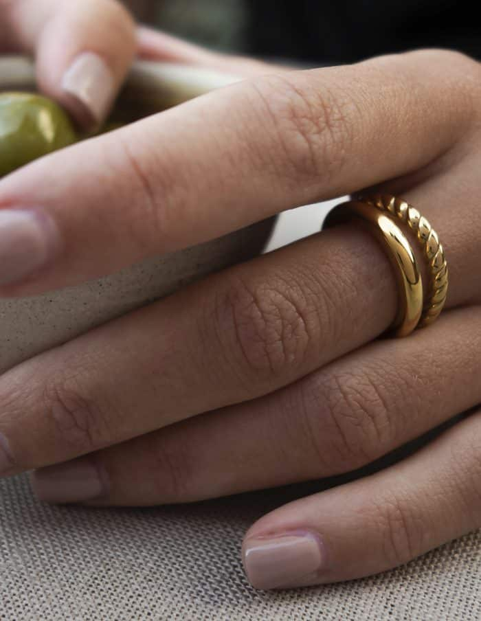 Double Band Ring, Gold Plated Stainless Steel
