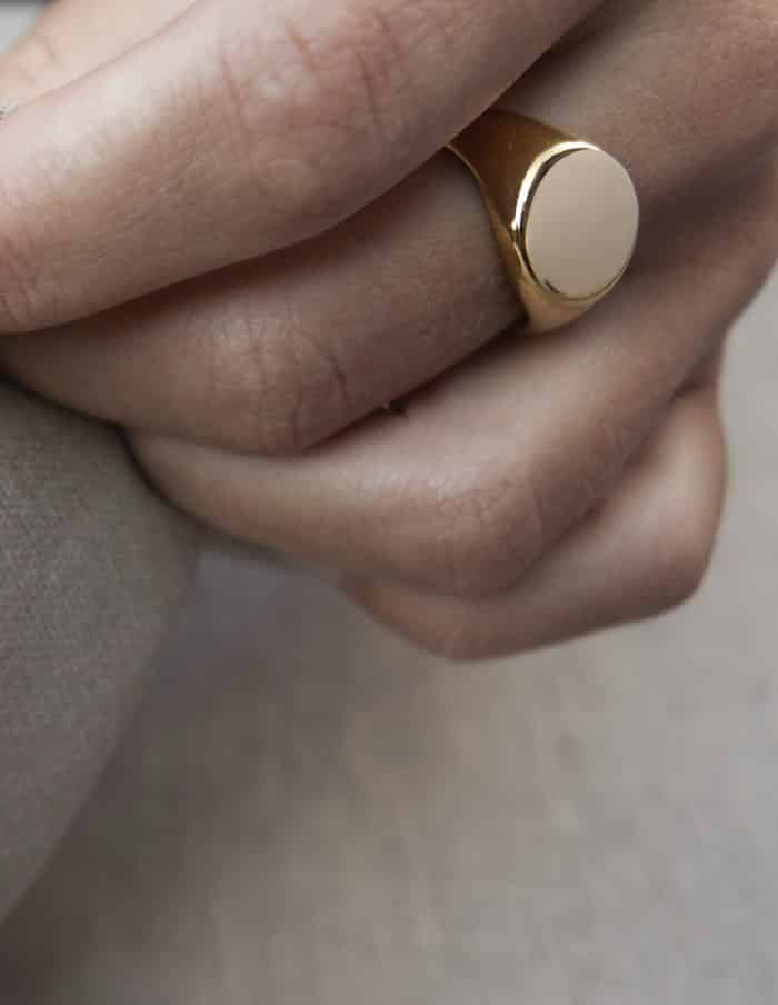 Round Signet Ring, Gold Plated Stainless Steel