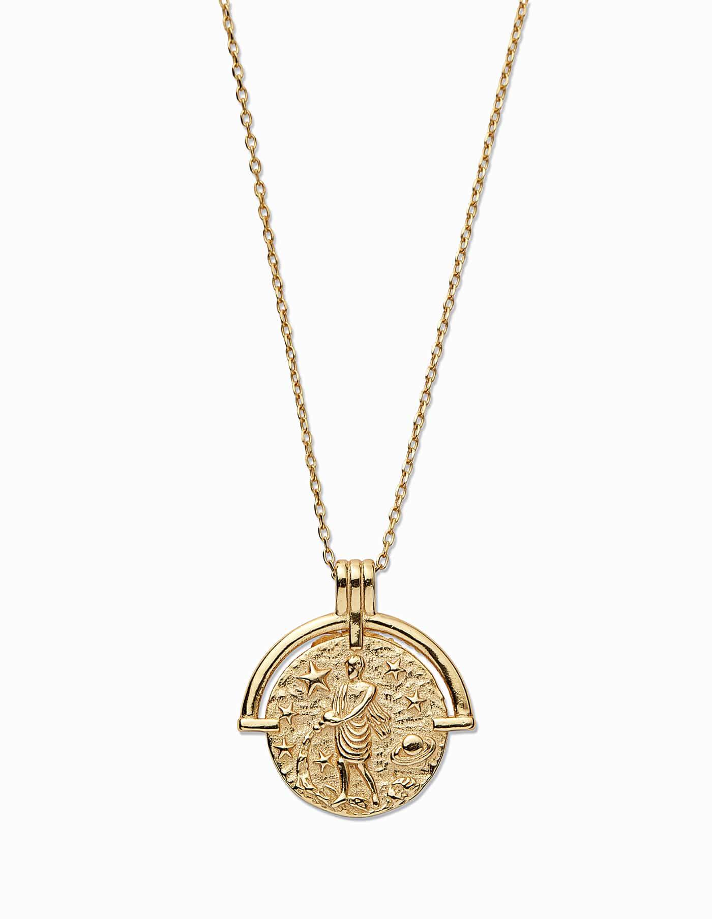 Gold Aquarius Zodiac Necklace