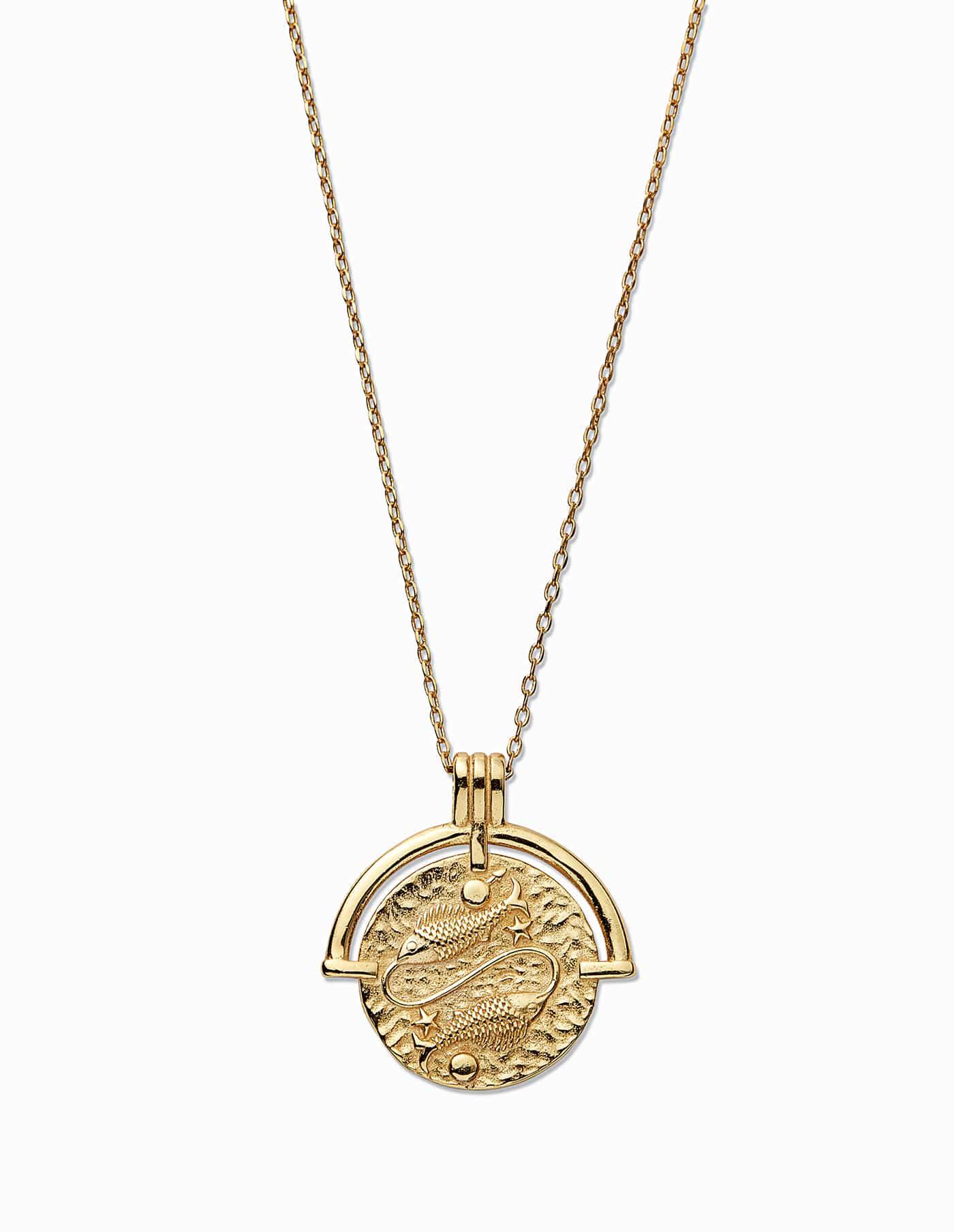 Gold Pisces Zodiac Necklace