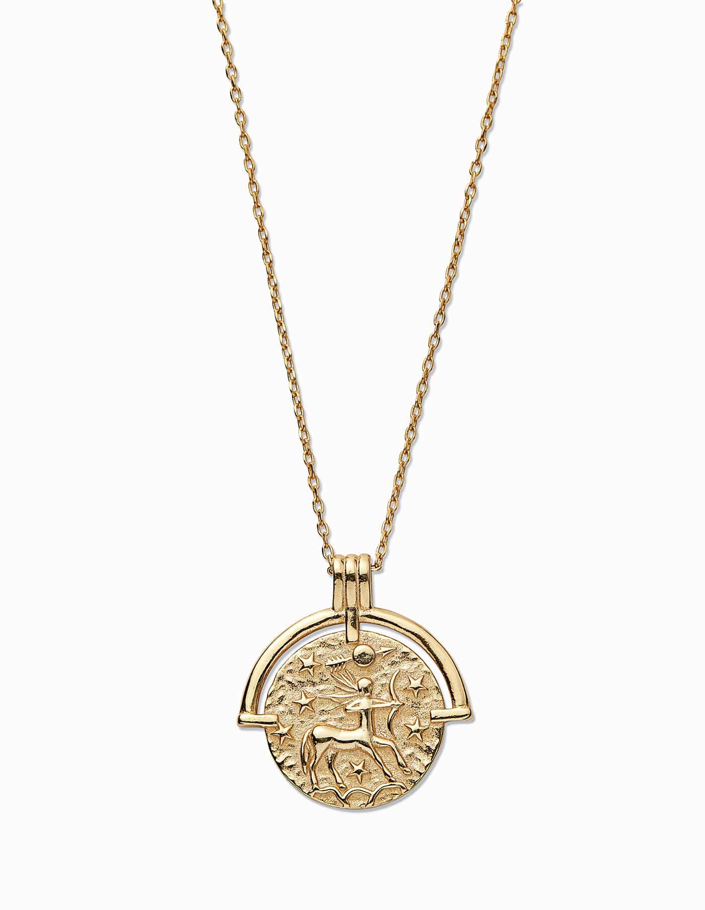Gold Sagittarius Zodiac Necklace