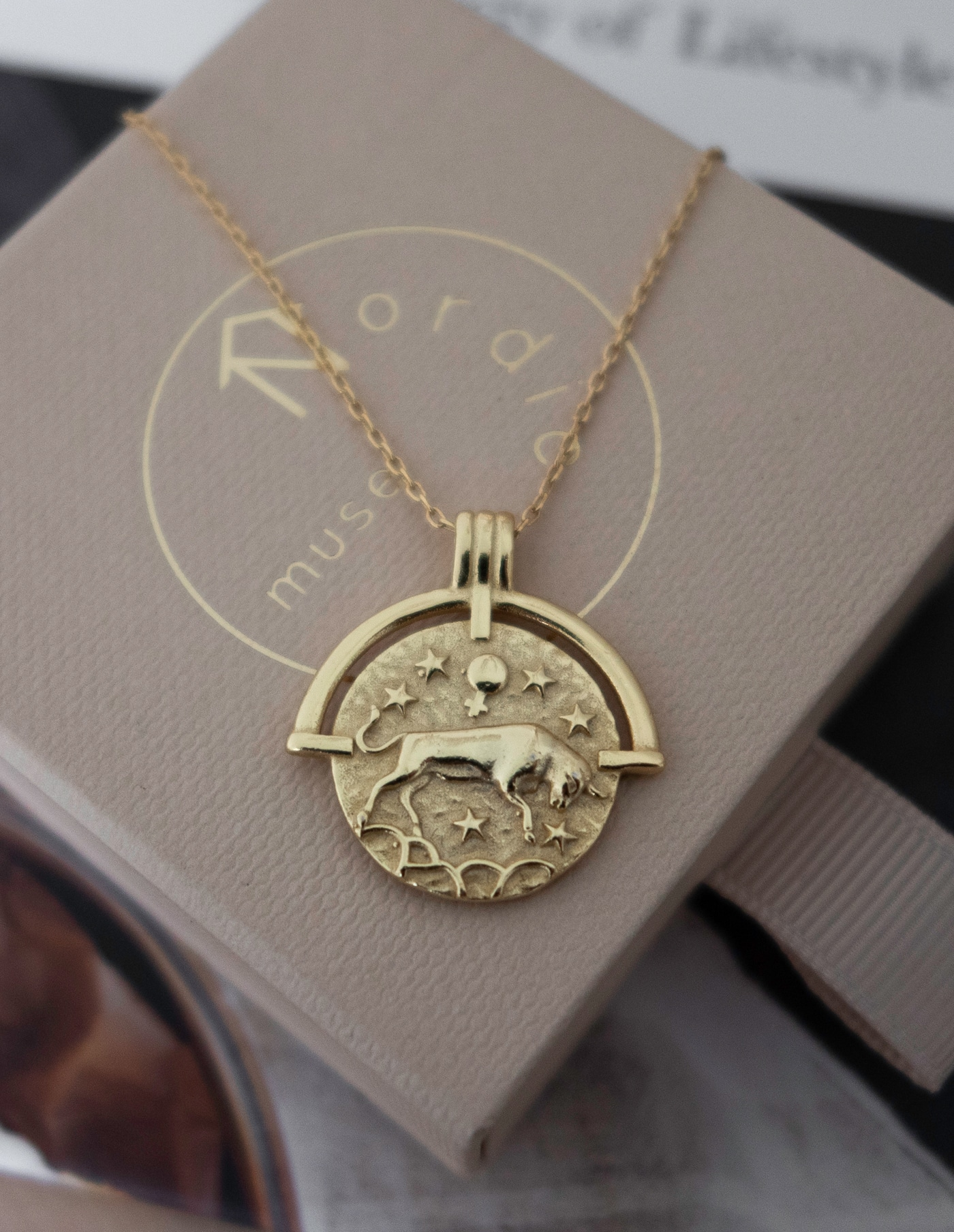 Taurus Zodiac Necklace, Gold Vermeil