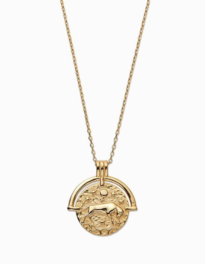Gold Taurus Zodiac Necklace