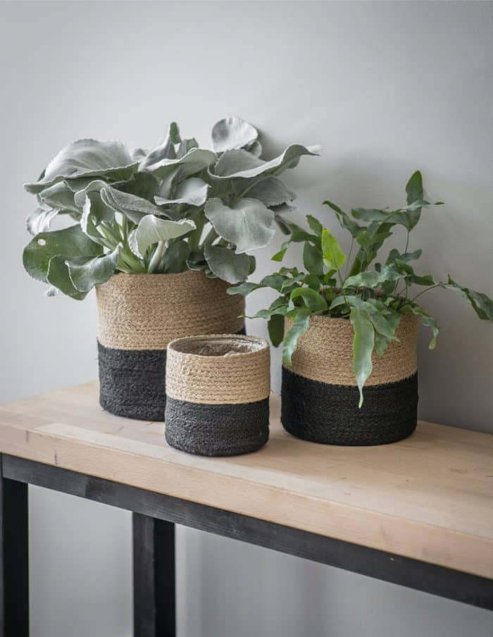 Large Striped Jute Plant Pot, Waterproof