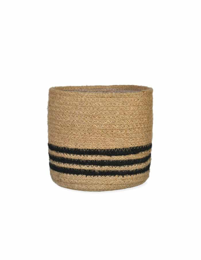 Striped Basket Plant Pot, Jute