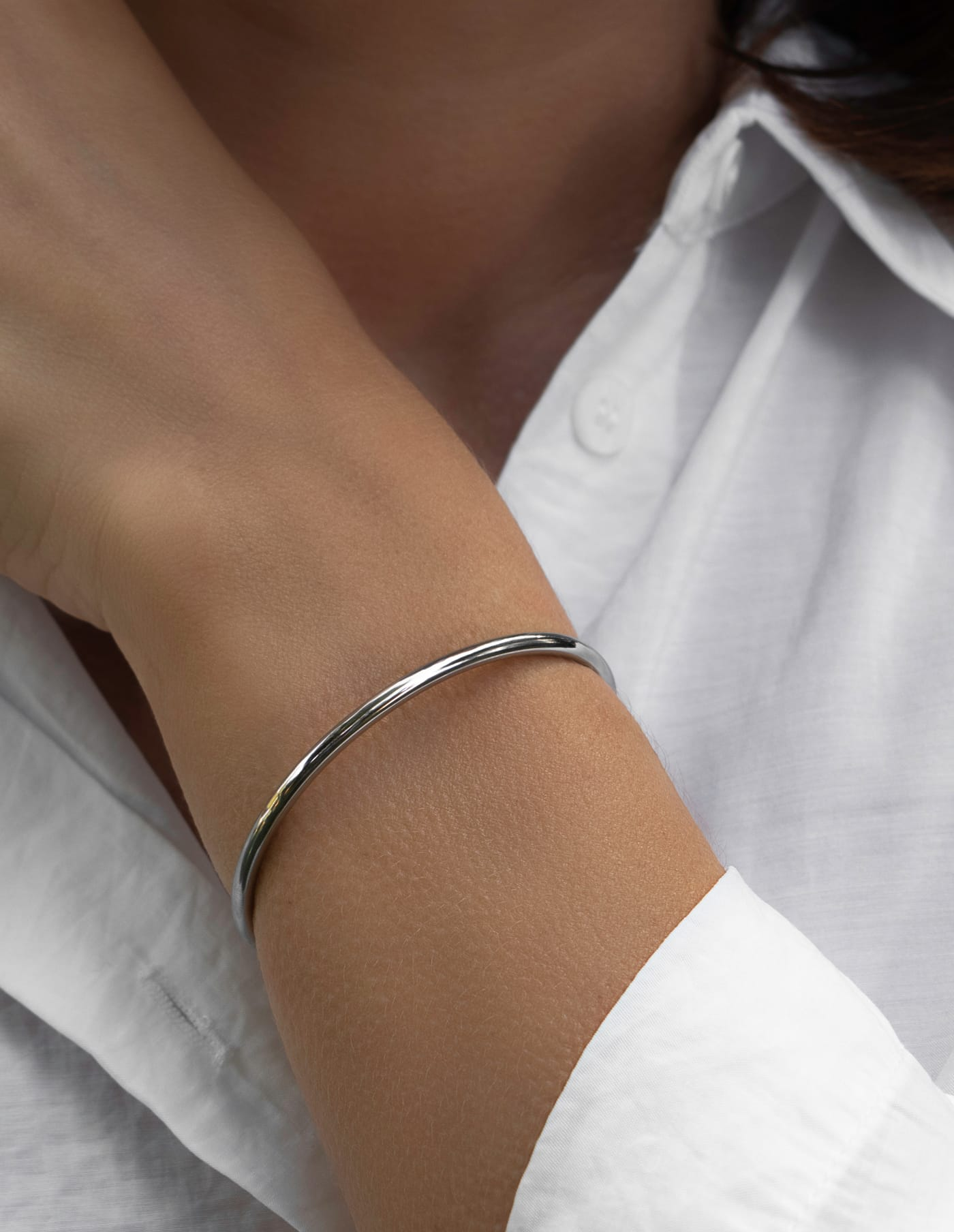 Simple Silver Bangle, Forever Lasting