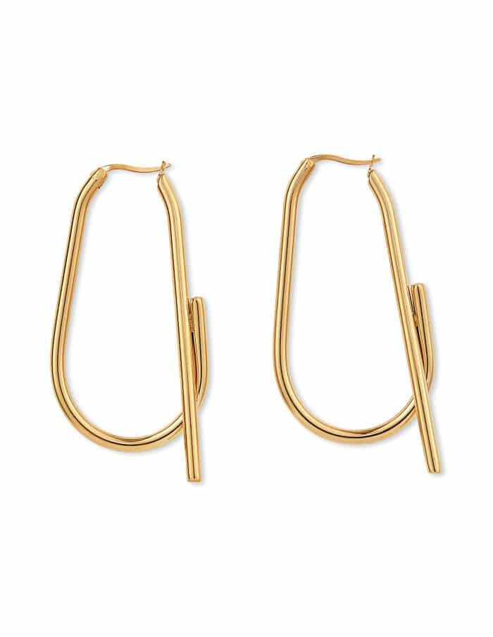 Gold Abstract Hoop Earrings, Forever Lasting