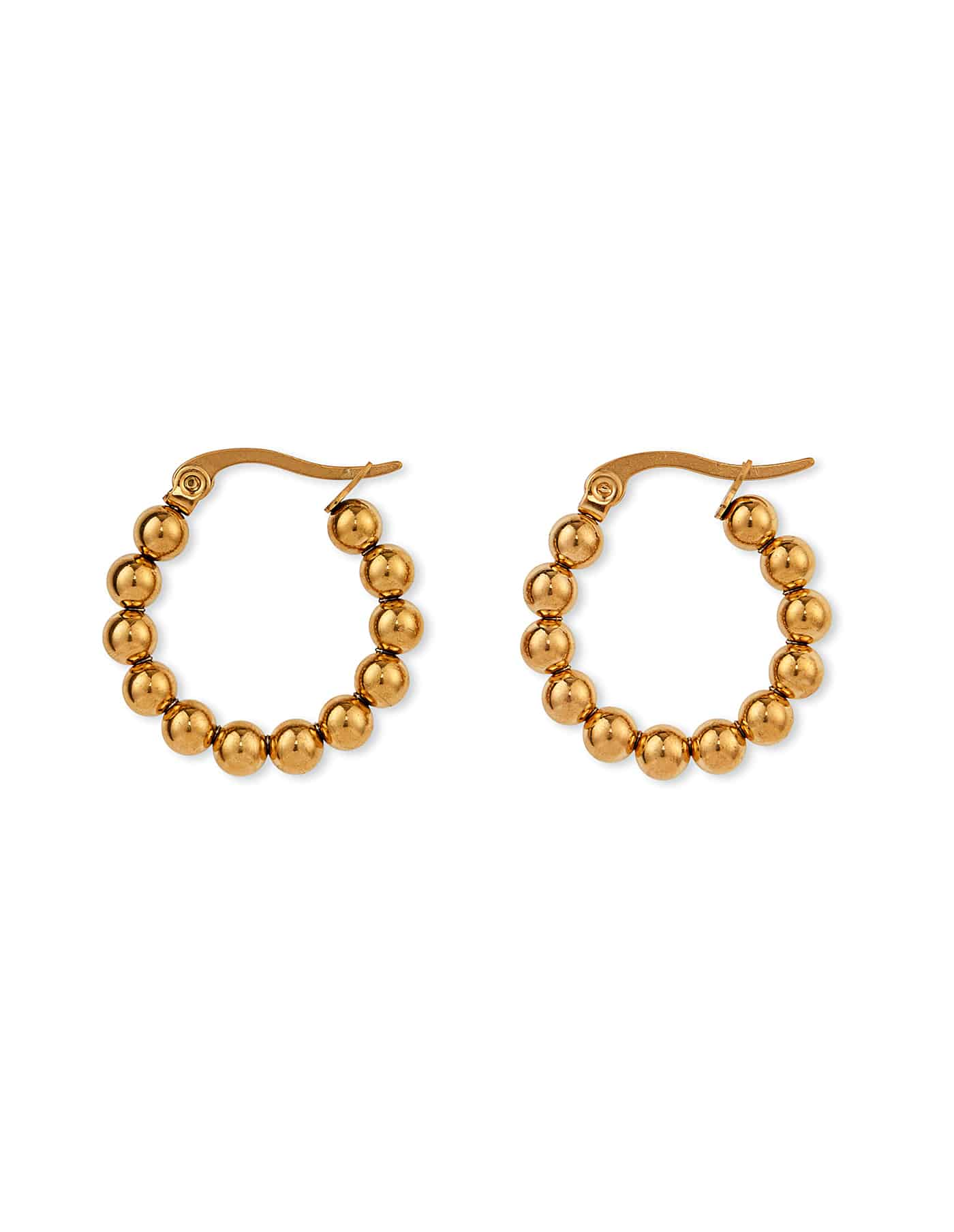 Gold Ball Hoop Earrings, Forever Lasting