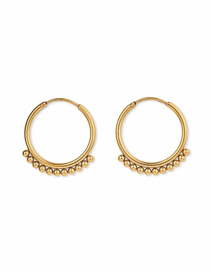Gold Beaded Hoop Earrings, Forever Lasting