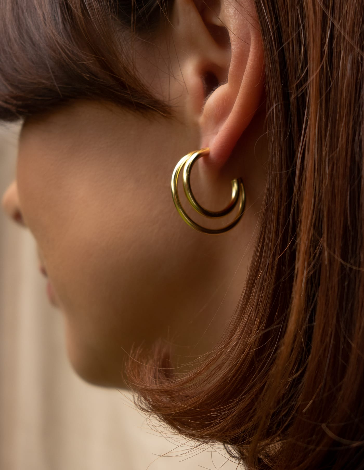 Gold Double Layered Hoop Earrings