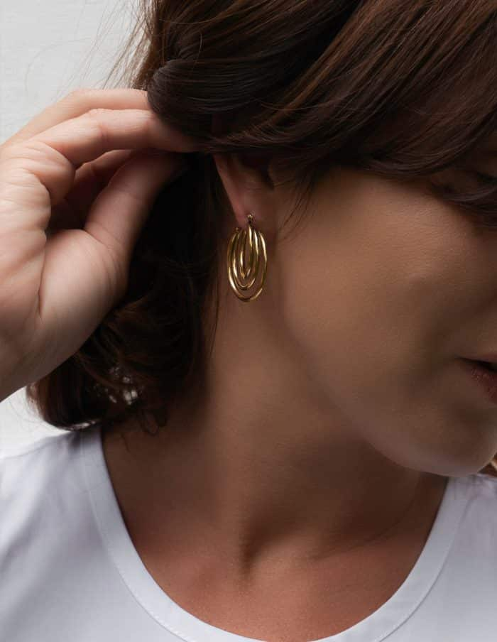 Gold Triple Hoop Earrings, Forever Lasting