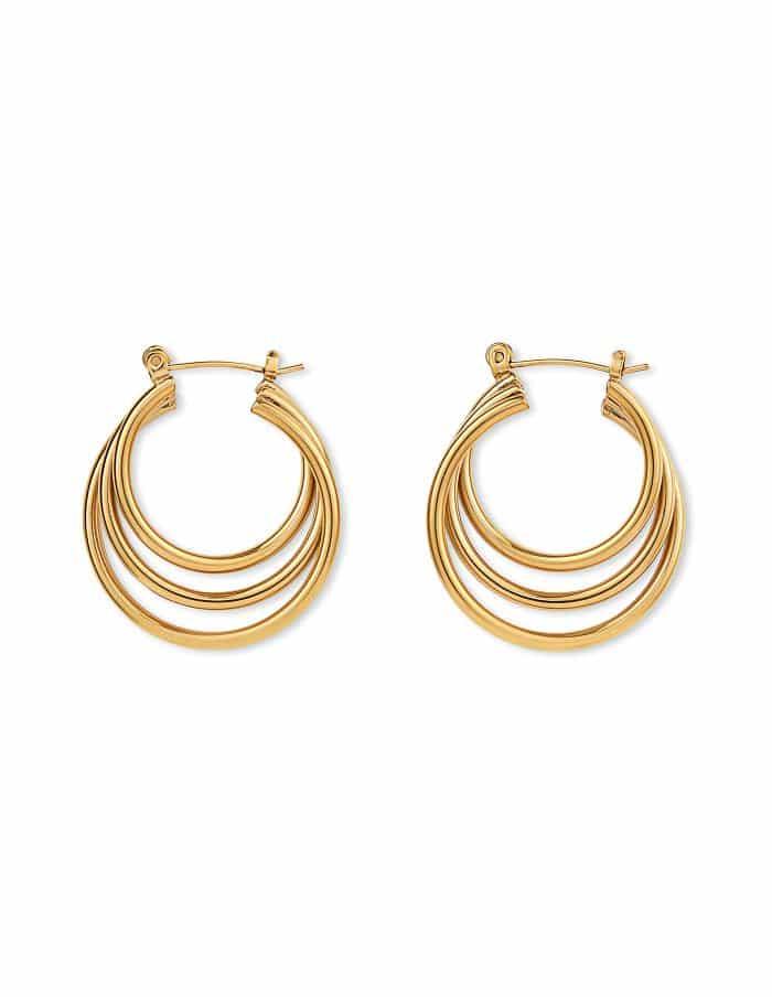 Gold Triple Hoop Earrings, Forever Lasting