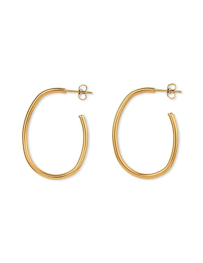 Gold Oval Hoop Earrings, Forever Lasting