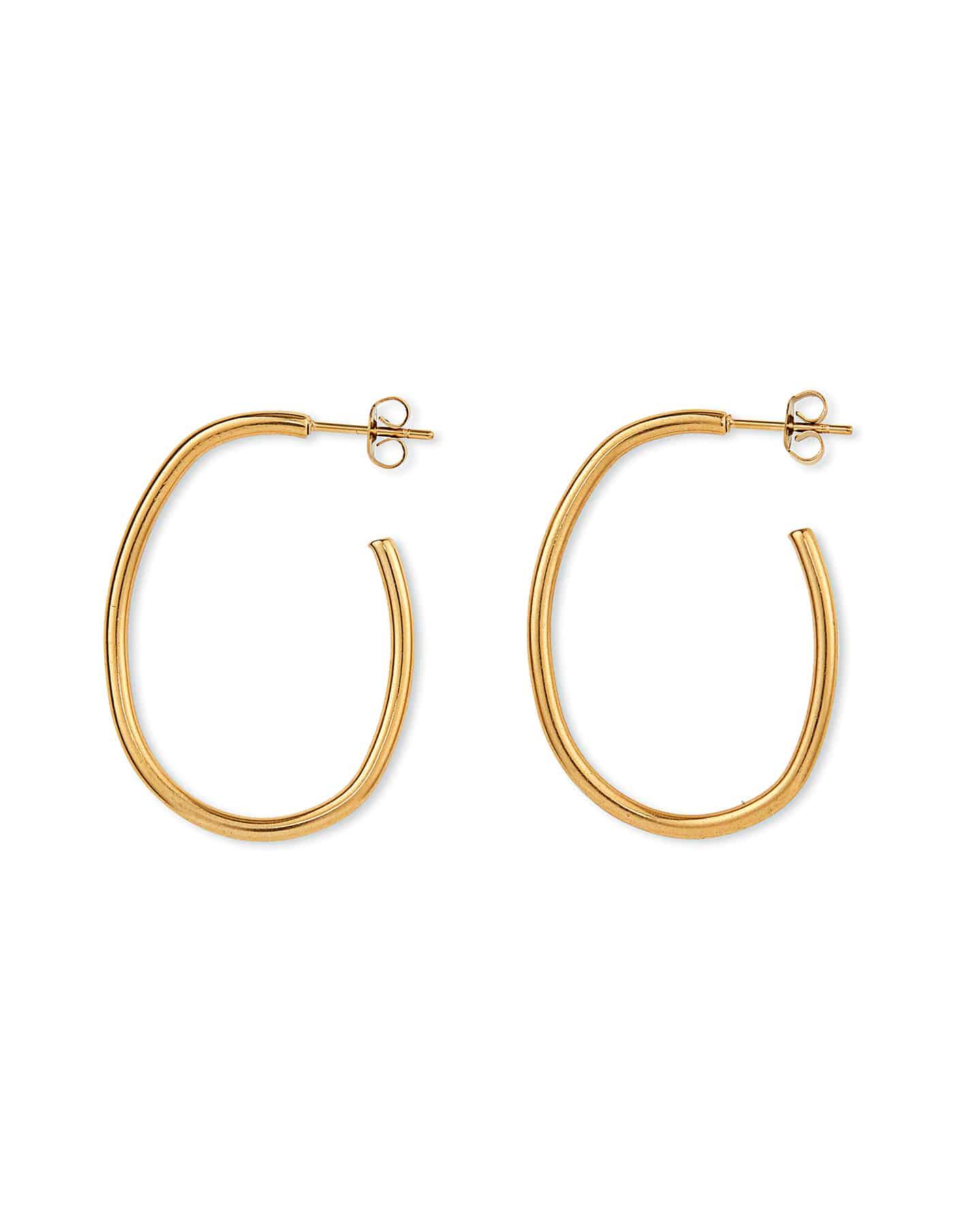 Gold Oval Hoop Earrings, Forever Lasting