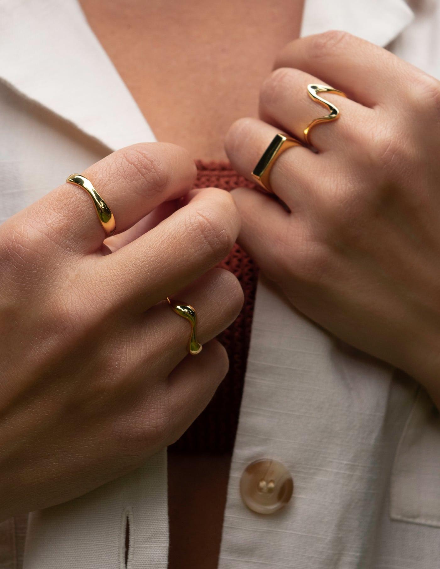 Gold Adjustable Wave Ring