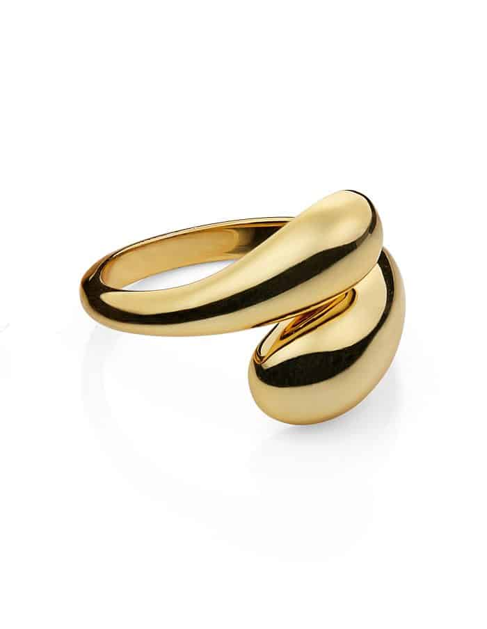 Gold Adjustable Dual Drop Ring