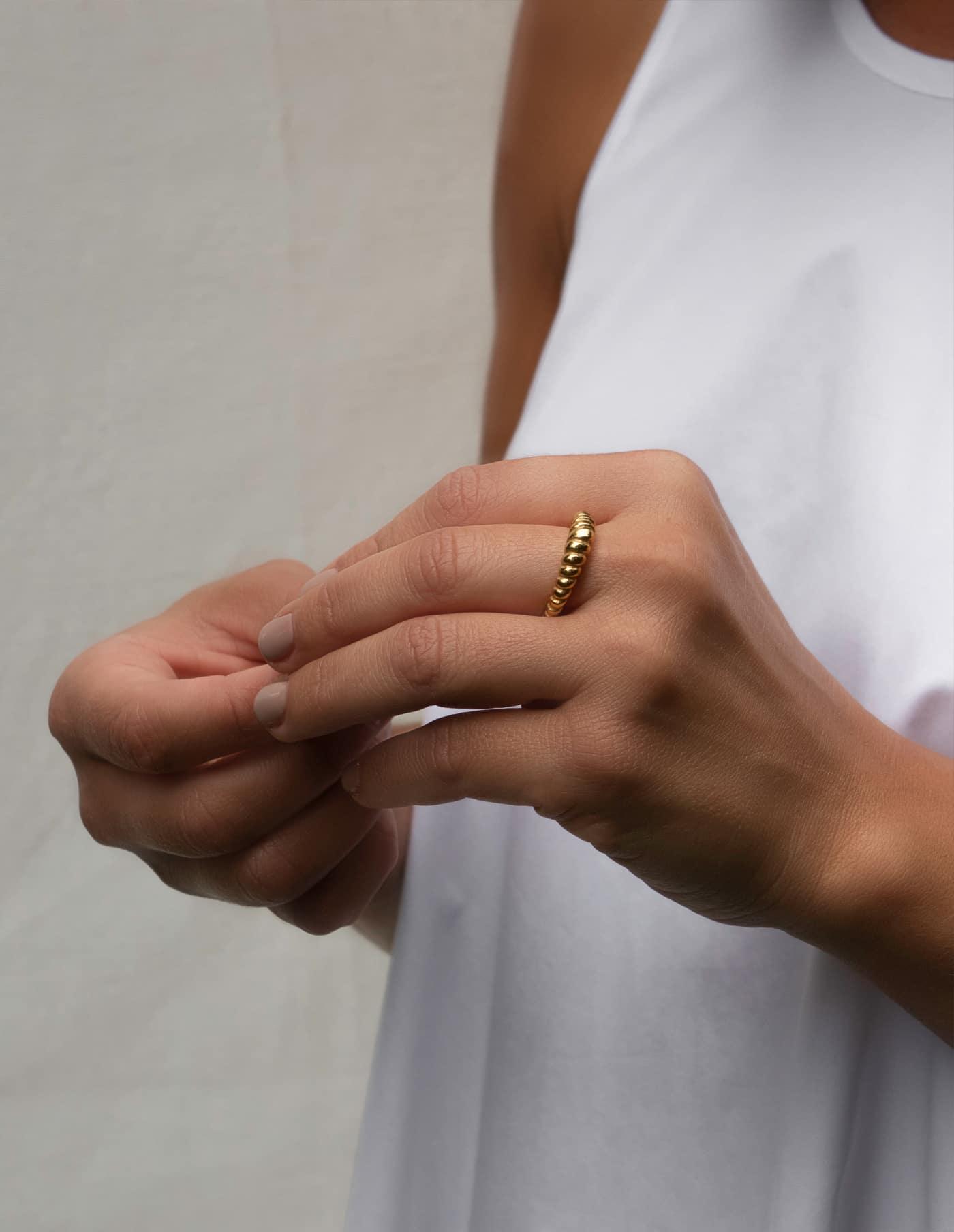 Gold Skinny Croissant Ring, Forever Lasting