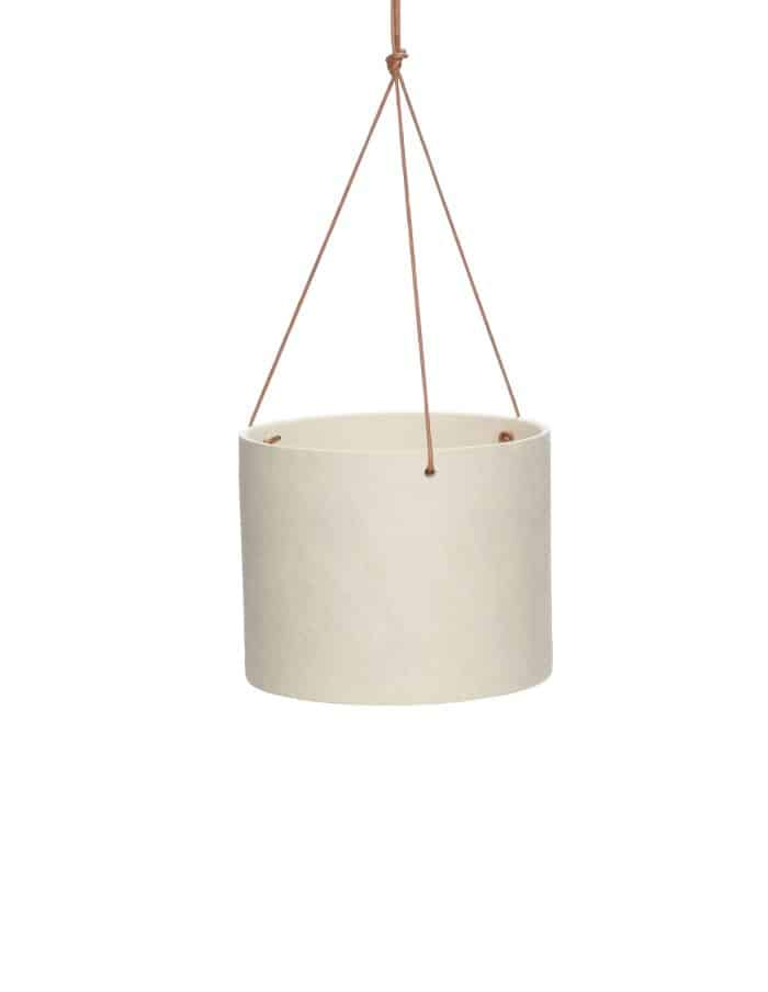 Hübsch Wide Ceramic Hanging Pot, Sand