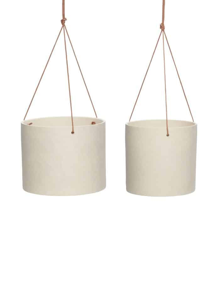 Hübsch Sand Hanging Pot, Set of Two