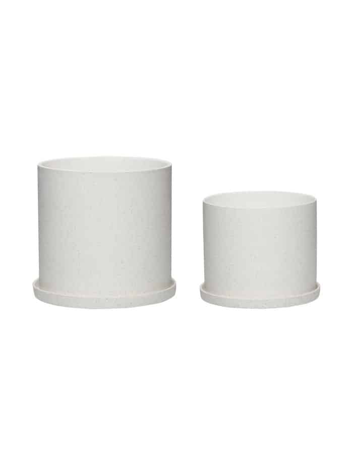 Hübsch White Plant Pot, Set of Two