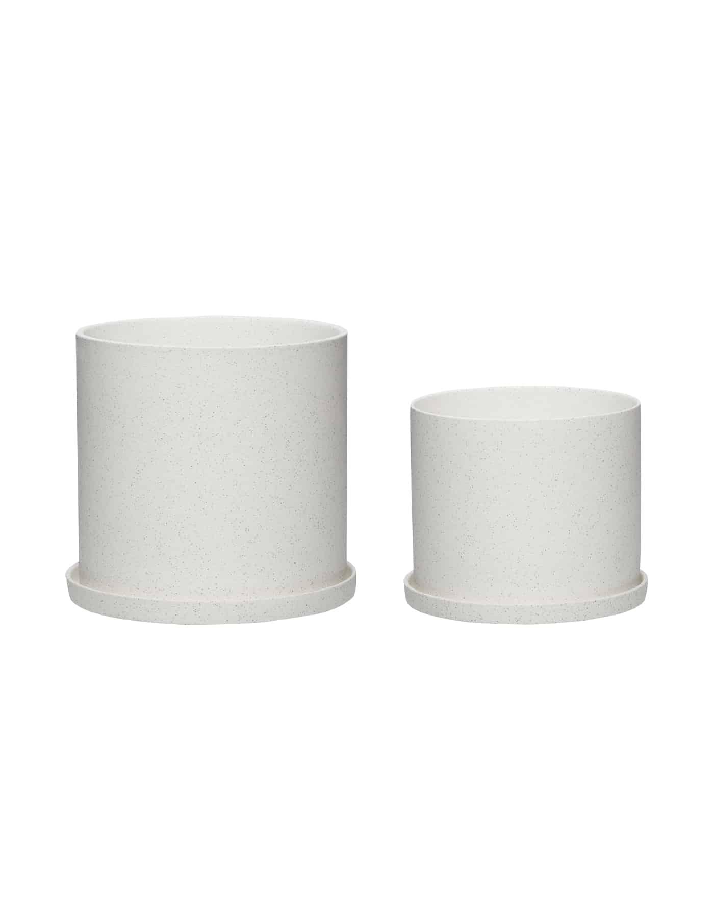 Hübsch White Plant Pot, Set of Two