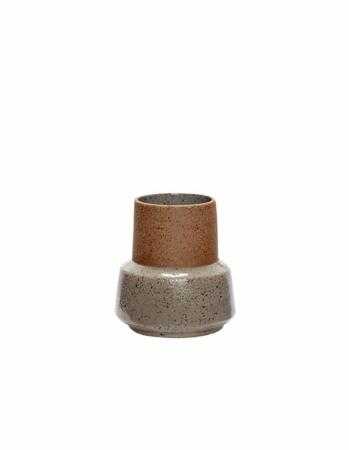 Hübsch Short Ceramic Vase, Sand/Green
