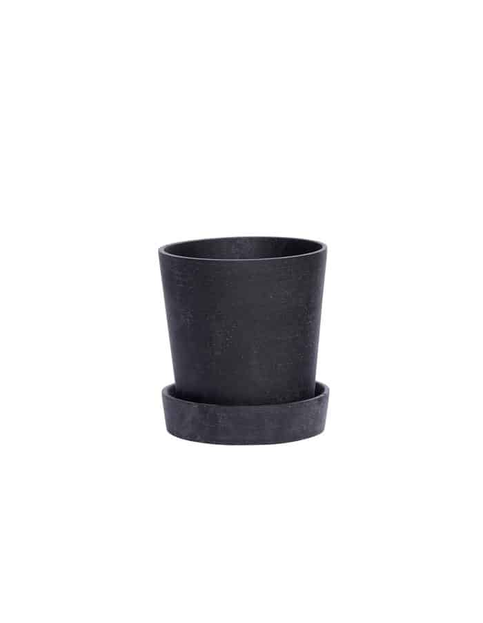 Medium Black Tapered Plant Pot, Hübsch