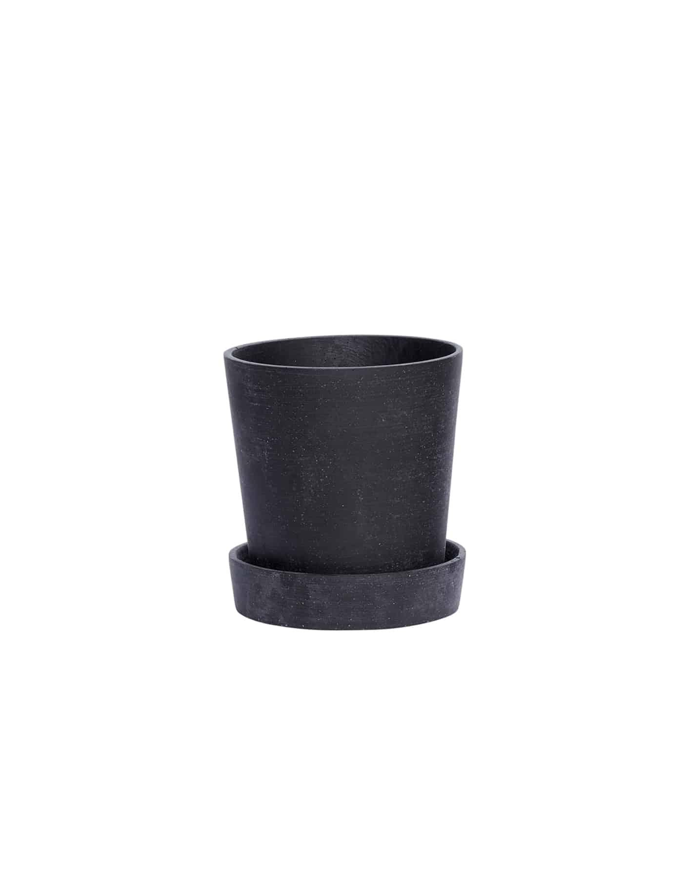 Hübsch Medium Black Tapered Plant Pot