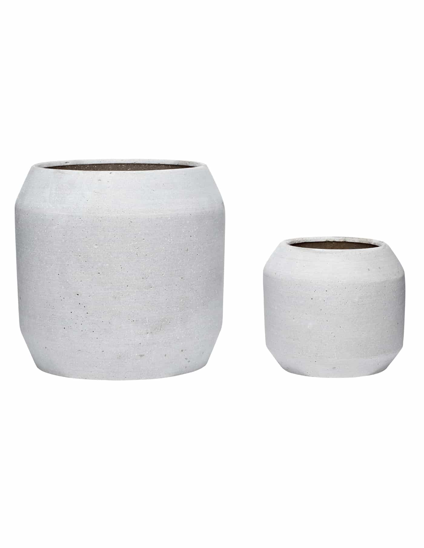 Hübsch Grey Rounded Plant Pot, Set of Two