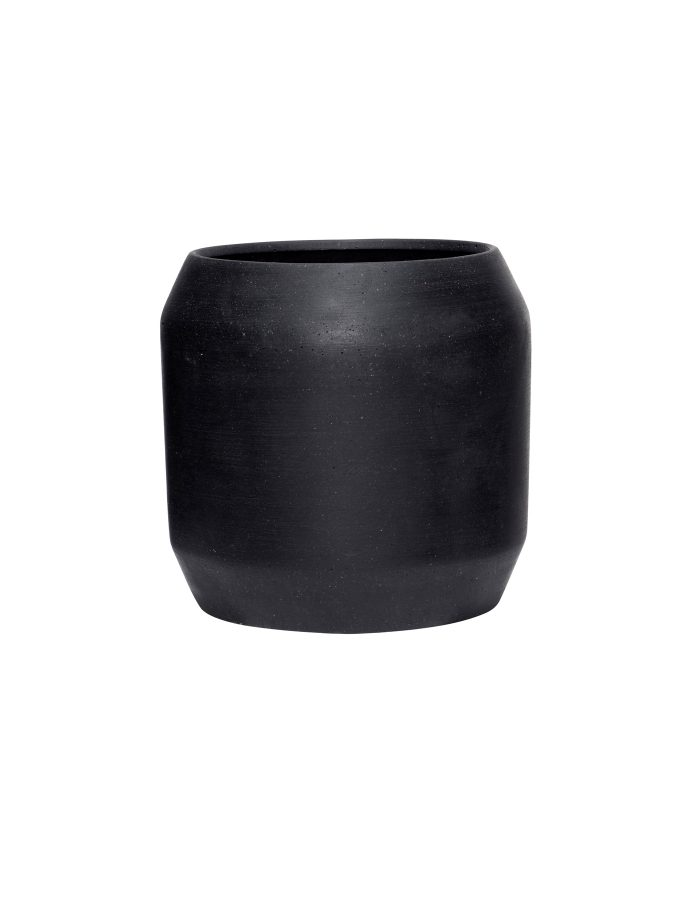 Hübsch Large Black Rounded Plant Pot, Ceramic