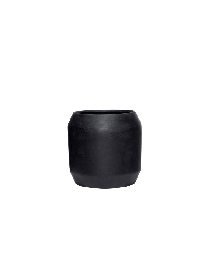 Hübsch Medium Black Rounded Plant Pot, Ceramic