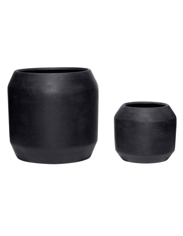 Black Rounded Plant Pot Set, Hübsch