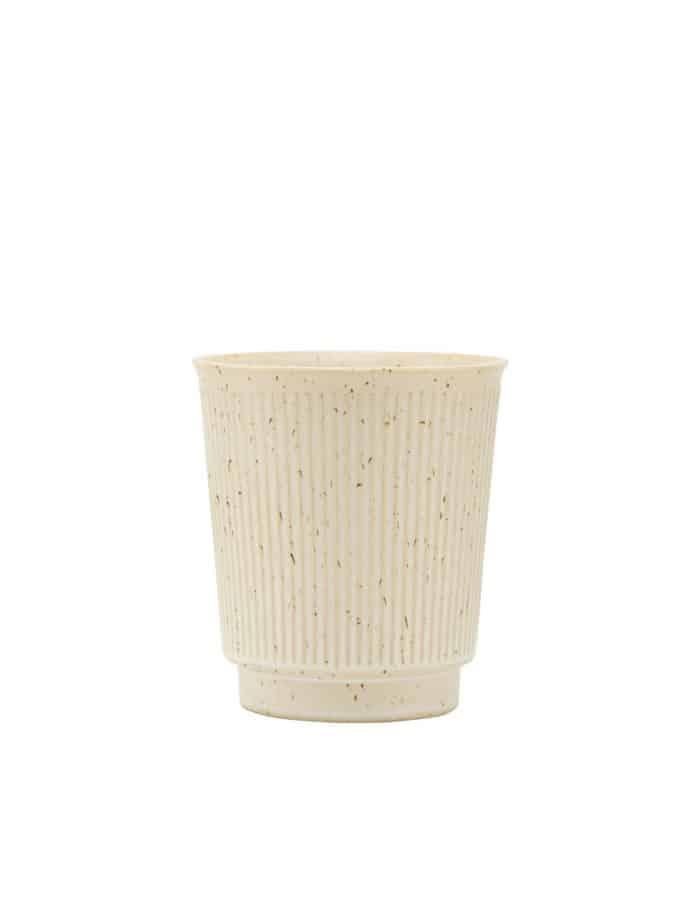 House Doctor Ribbed Mug, Beige Stoneware