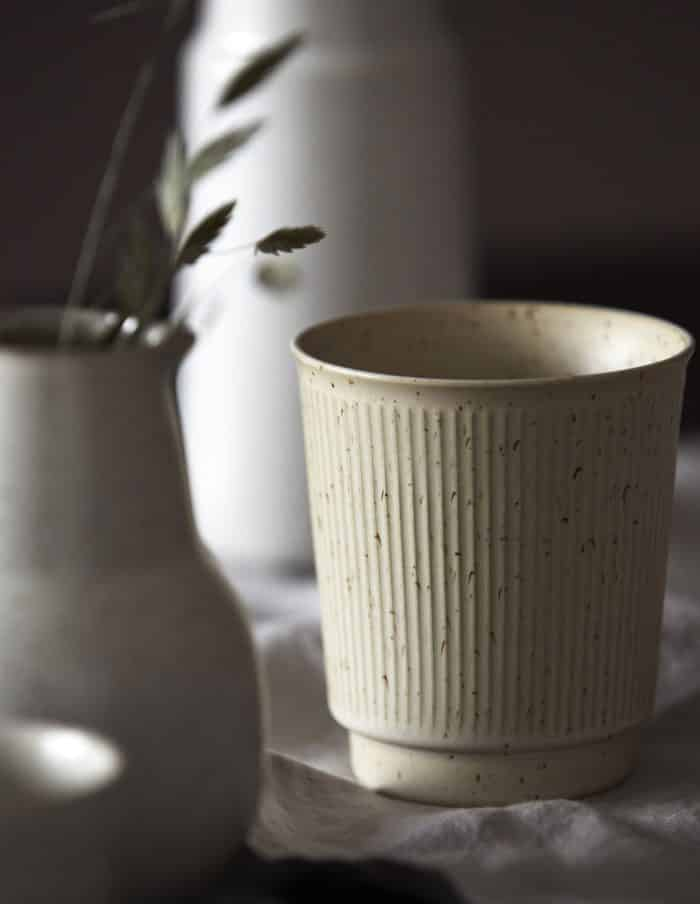 House Doctor Ribbed Mug, Beige Stoneware