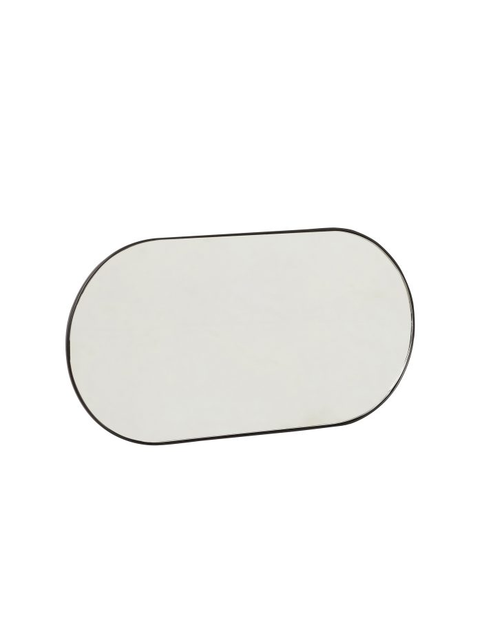 Hübsch Oval Mirror with Hooks, Black