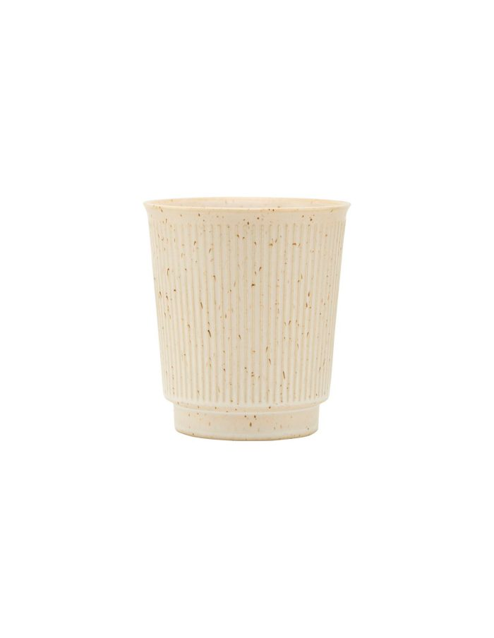 Beige Ribbed Stoneware Mug, House Doctor